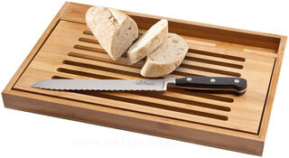 Cutting board with bread knife