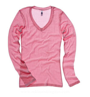 Sheer Mini Rib LS V-Neck T-Shirt
