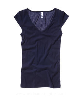 Sheer Mini Rib V-Neck Shirt
