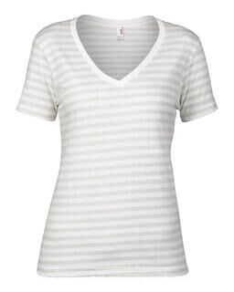 Women`s Fashion Striped V-Neck Tee