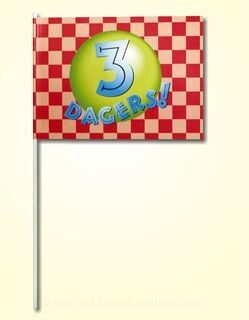 Hand flag 20x30cm, includes three color print, with wooden stick